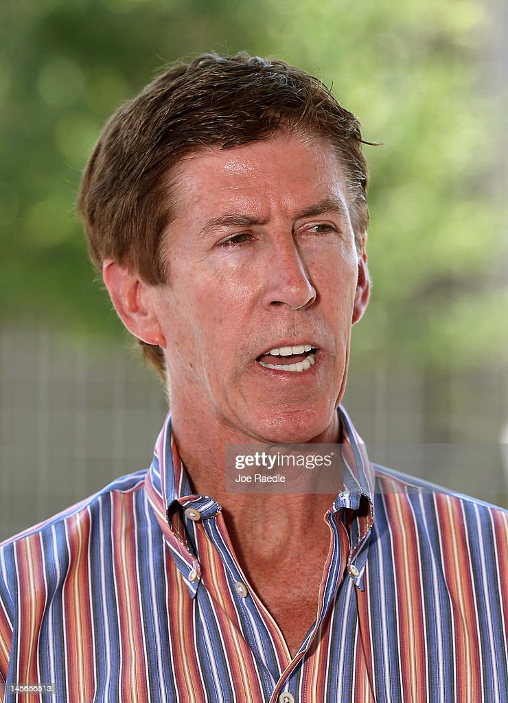 The defense attorney for George Zimmerman Mark O'Mara speaks to the media after his client arrived at the Seminole County Jail's intake building...