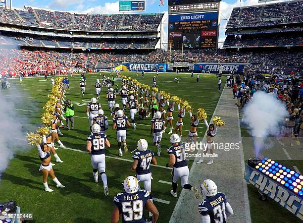 The defense of the San Diego Chargers takes the field en route to their 3727 loss to the Kansas City Chiefs during their NFL game at Qualcomm Stadium...