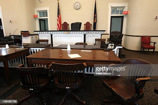 The defense table sits empty inside the courtroom of the Centre County Courthouse on June 17 2012 in Bellefonte Pennsylvania This week the defense...