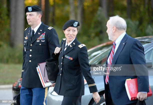 The defense team for US Army Sgt Robert Bowdrie 'Bowe' Bergdahl Army Lt Col Franklin D Rosenblatt Capt Nina Banks and Eugene R Fidel arrive at the Ft...