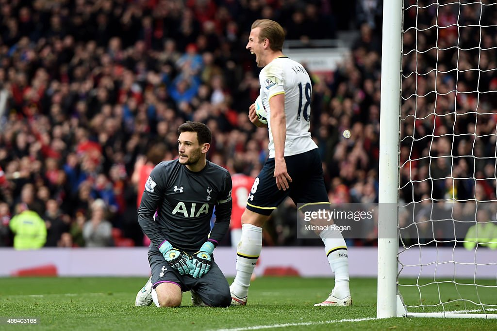 The dejected goalkeeper Hugo Lloris and Harry Kane of Spurs react after conceding a second goal during the Barclays Premier League match between Manchester United and Tottenham Hotspur at Old Trafford on March 15, 2015 in Manchester, England.