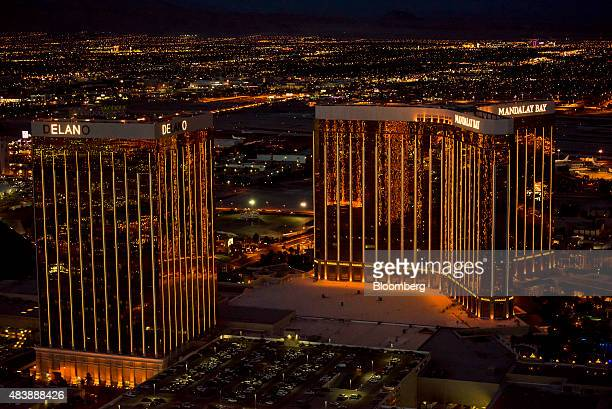 The Delano Las Vegas left and Mandalay Bay Resort And Casino stand on The Strip in this aerial photograph taken at dusk above Las Vegas Nevada US on...