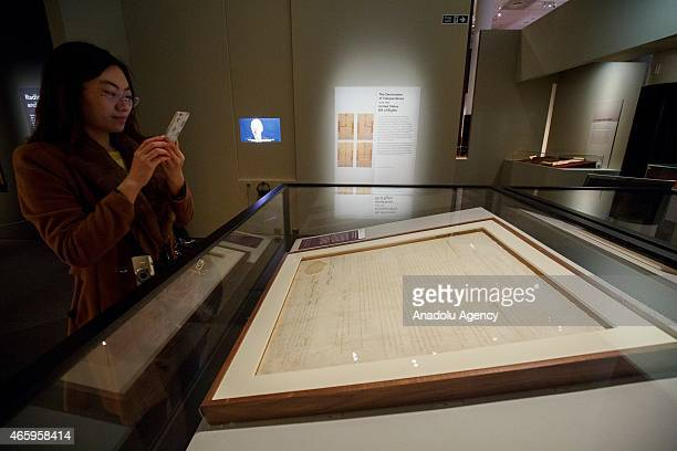 The Delaware copy of the US Bill of Rights on loan from the US National Archives is seen at 'Magna Carta Law Liberty Legacy' exhibition which opens...