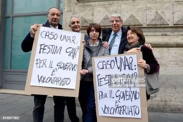 The delegation of parliamentarians of IDEA with Gaetano Quagliariello Eugenia Roccella Carlo Giovanardi Roberta Angelilli and Vincenzo Piso during a...