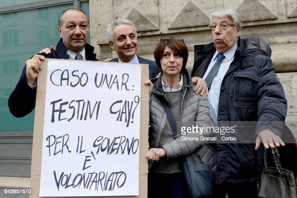 The delegation of parliamentarians of IDEA with Gaetano Quagliariello Carlo Giovanardi Roberta Angelilli and Vincenzo Piso during a sitin in Largo...