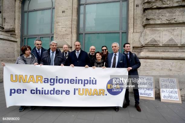The delegation of parliamentarians of IDEA with Gaetano Quagliariello Eugenia Roccella Carlo Giovanardi Roberta Angelilli Vincenzo Piso during a...