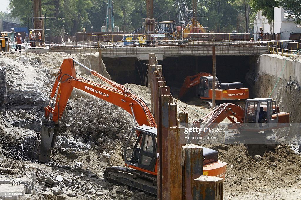 The Delhi metro phase III construction site at Mandi House metro site is shown on May 25, 2012 in New Delhi, India. The 9.37 km Central Secretariat-Kashmere Gate corridor, part of Delhi Metro's Phase III, will add a total of seven stations and is expected to ease traffic in congested areas like ITO, Janpath, Kashmere Gate and Daryaganj, among others.