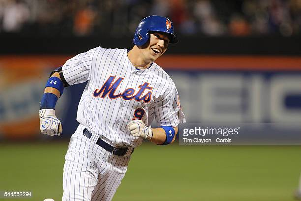 The delighted expression of Brandon Nimmo of the New York Mets as he rounds third base after hitting his first MLB home run a three run homer in the...