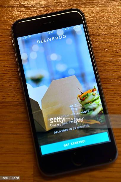 The Deliveroo login page is displayed on an iPhone on August 3 2016 in London England