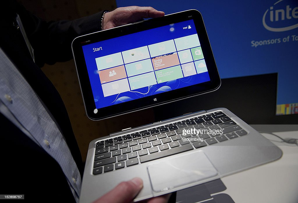 The Dell Inc. Latitude 10 tablet computer is displayed for a photograph during an event in San Francisco, California, U.S., on Thursday, Sept. 27, 2012. Intel Corp.'s delayed delivery of software that conserves computer battery life is holding up the development of some tablets running the latest version of Microsoft Corp.'s flagship Windows operating system, a person with knowledge of the matter said. Photographer: David Paul Morris/Bloomberg via Getty Images