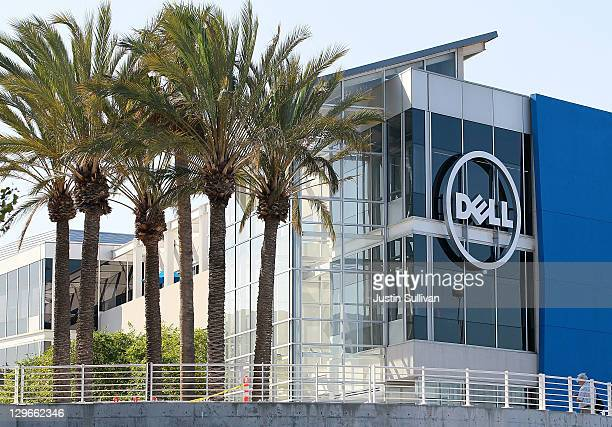 The Dell logo is displayed on the exterior of the new Dell research and development facility on October 19 2011 in Santa Clara California California...