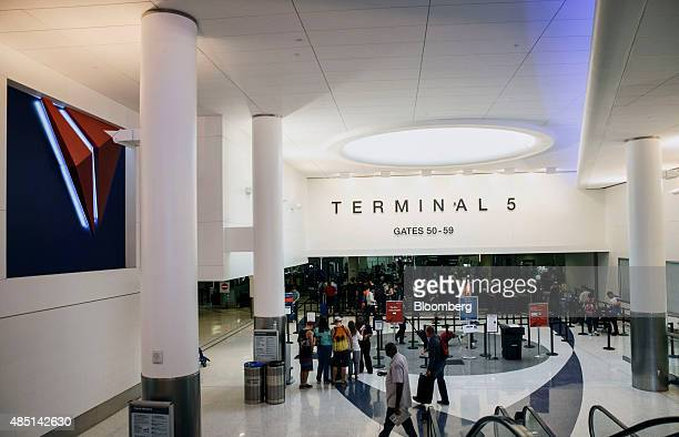 The Delta Air Lines Inc logo is displayed at the newly renovated TSA Security checkpoint area of Terminal 5 at Los Angeles International Airport in...