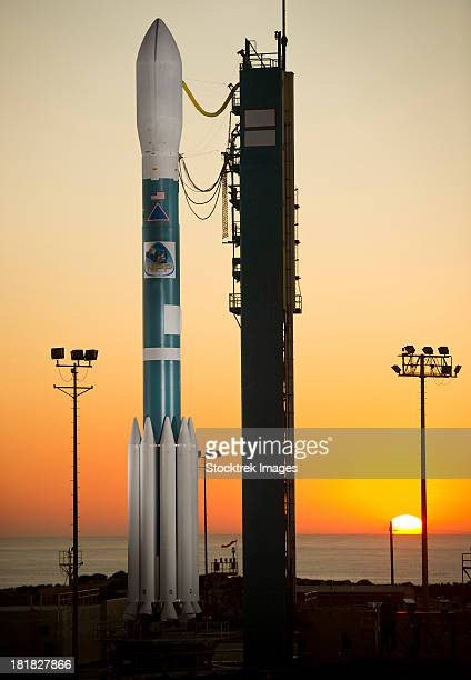 The Delta II rocket on its launch pad.