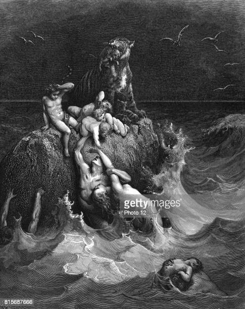 The Deluge' The last frantic attempts to cling to life 'And all flesh died that moved upon the earth' Genesis 722 Illustration by Gustave Dore French...