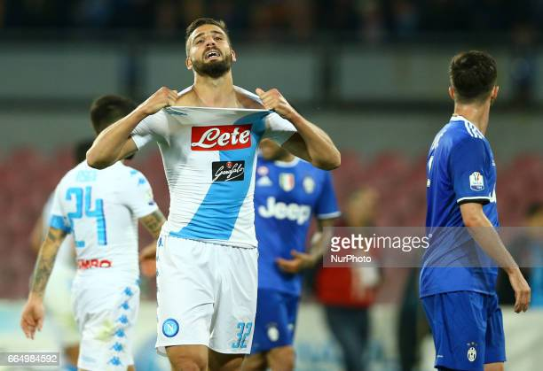 The delusion of Leonardo Pavoletti of Napoli during the TIM Cup match between SSC Napoli and Juventus FC at Stadio San Paolo on April 5 2017 in...