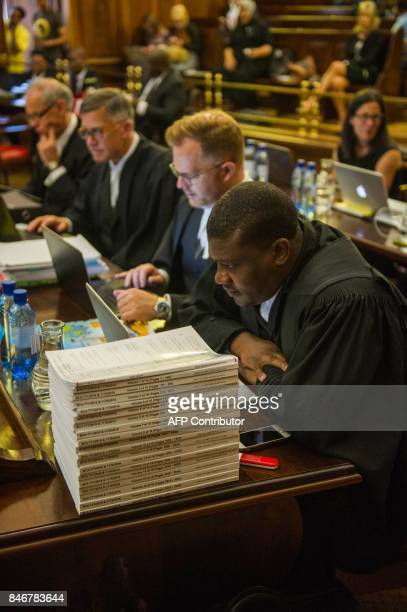 The Democratic Alliance party's legal team lead by lawyer Sean Rosenberg attend the spy tape case at the Supreme Court of Appeal in Bloemfontein on...