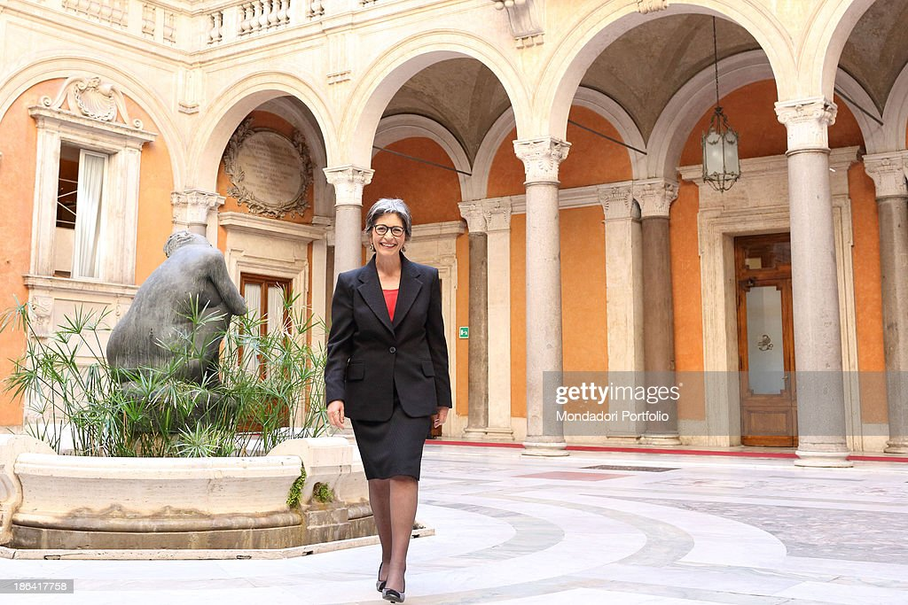 The Democratic Party leader of the Italian Senate <a gi-track='captionPersonalityLinkClicked' href=/galleries/search?phrase=Anna+Finocchiaro&family=editorial&specificpeople=4172756 ng-click='$event.stopPropagation()'>Anna Finocchiaro</a> posing smiling in the courtyard of Palazzo Madama. Rome, 30th March 2012.