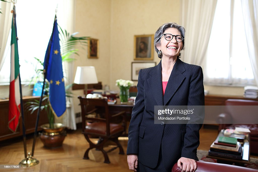 The Democratic Party leader of the Italian Senate <a gi-track='captionPersonalityLinkClicked' href=/galleries/search?phrase=Anna+Finocchiaro&family=editorial&specificpeople=4172756 ng-click='$event.stopPropagation()'>Anna Finocchiaro</a> smiling in her office in Palazzo Carpegna. Rome, 30th March 2012.
