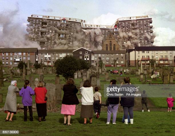 The demolition of two 19 storey block of flats at Queen Elizabeth Square Gorbals in Glasgow billed as the biggest controlled explosion in Europe...