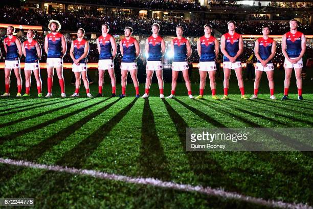 The Demons stand for the last post during the round five AFL match between the Richmond Tigers and the Melbourne Demons at Melbourne Cricket Ground...