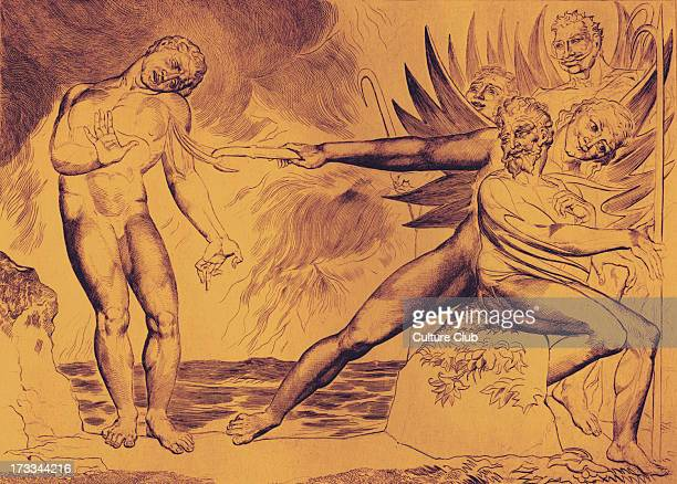 The Demons Tormenting Ceampolo by William Blake from the illustrations to Dante Inferno Canto XXII 1824 Ceampolo also called Ciampolo or John Paul...