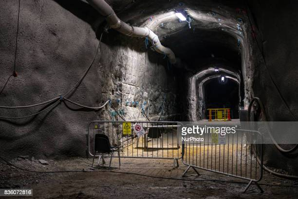 The demonstration tunnel approximately 420 meters underground in Posiva's spent nuclear fuel repository ONKALO in Olkiluoto Eurajoki Finland on 17...