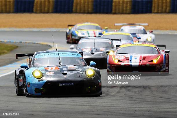 The Dempsey Proton Racing Porsche driven by Patrick Dempsey Patrick Long and Marco Seefried drives during the Le Mans 24 Hour race at the Circuit de...