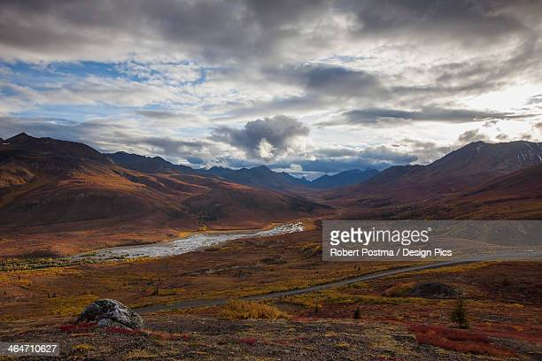 The Dempster Highway And Klondike Valley With The Tundra Covered In Autumn Colours