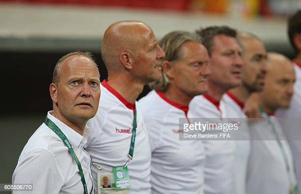 The Denmark coach Niels Frederiksen looks on prior to the Men's First Round Group A match between Denmark and South Africa on Day 2 of the Rio 2016...