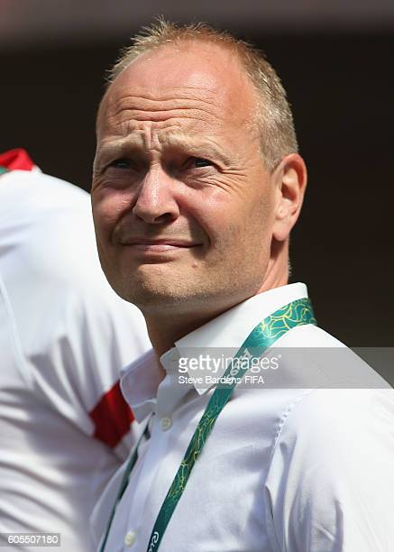 The Denmark Coach Niels Frederiksen looks on prior to the Men's First Round Group A match between Iraq and Denmark at Mane Garrincha Stadium on...