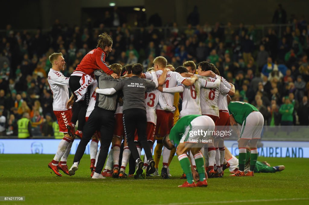 The Denmark team celebrate victory after the FIFA 2018 World Cup Qualifier Play-Off: Second Leg between Republic of Ireland and Denmark at Aviva Stadium on November 14, 2017 in Dublin, Ireland.