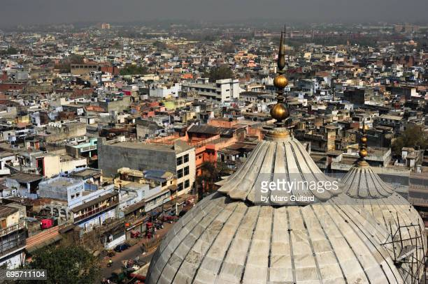 The densely populated sprawl of Old Delhi, as seen from one of the minarets of the Jama Masjid Mosque, Delhi, India