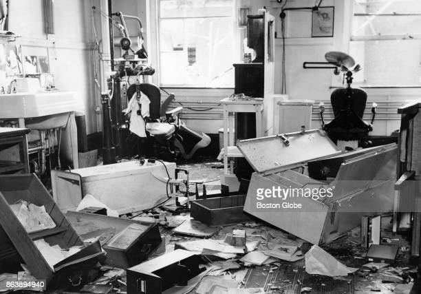 The dentist's office at Charlestown State Prison after it was wrecked by rioting prisoners in Boston July 22 1952