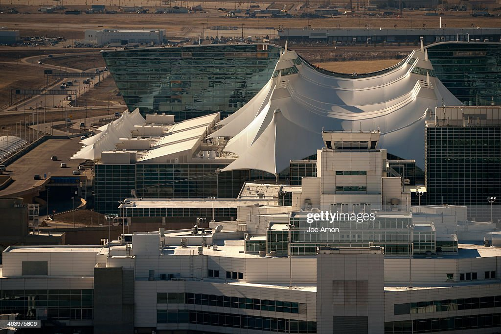 The Denver Airport Westin behind the 'tents' from the FAA control tower at the Denver International Airport February 20 2015 Denver CO