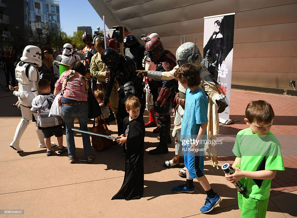 The Denver Art Museum held a May the 4th Be With You event to kick off ticket sales for the upcoming exhibition, Star Wars and the Power of Costume, opening at the DAM in November, May 04, 2016. Fans were able to take photos with costumed characters from the popular Star Wars dynasty.