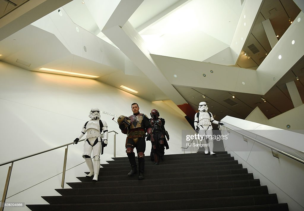 The Denver Art Museum held a May the 4th Be With You event to kick off ticket sales for the upcoming exhibition, Star Wars and the Power of Costume, opening at the DAM in November, May 04, 2016. Costumed characters entertained fans at the museum.