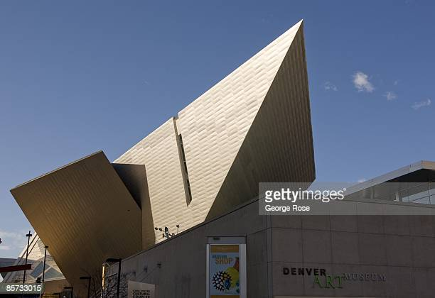The Denver Art Museum located in the downtown arts district is viewed in this 2009 Denver Colorado spring city landscape photo