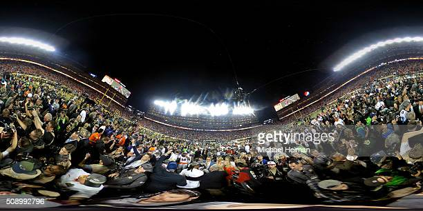 The Denver Broncos celebrate defeating the Carolina Panthers with a score of 24 to 10 in Super Bowl 50 at Levi's Stadium on February 7 2016 in Santa...