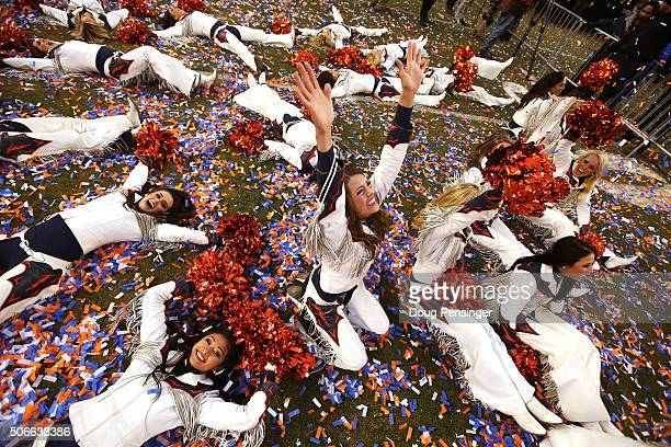 The Denver Broncos cheerleaders celebrate after defeating the New England Patriots in the AFC Championship game at Sports Authority Field at Mile...