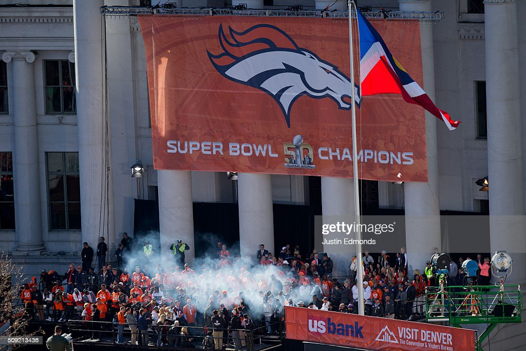 The Denver Broncos fire up the crowd during a victory rally to celebrate their Super Bowl championship at Civic Center Park on February 9, 2016 in Denver, Colorado. The Broncos defeated the Panthers 24-10 in Super Bowl 50.