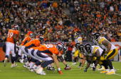 The Denver Broncos offense takes the line of scrimmage against the Pittsburgh Steelers defense on during NFL action at Invesco Field at Mile High on...