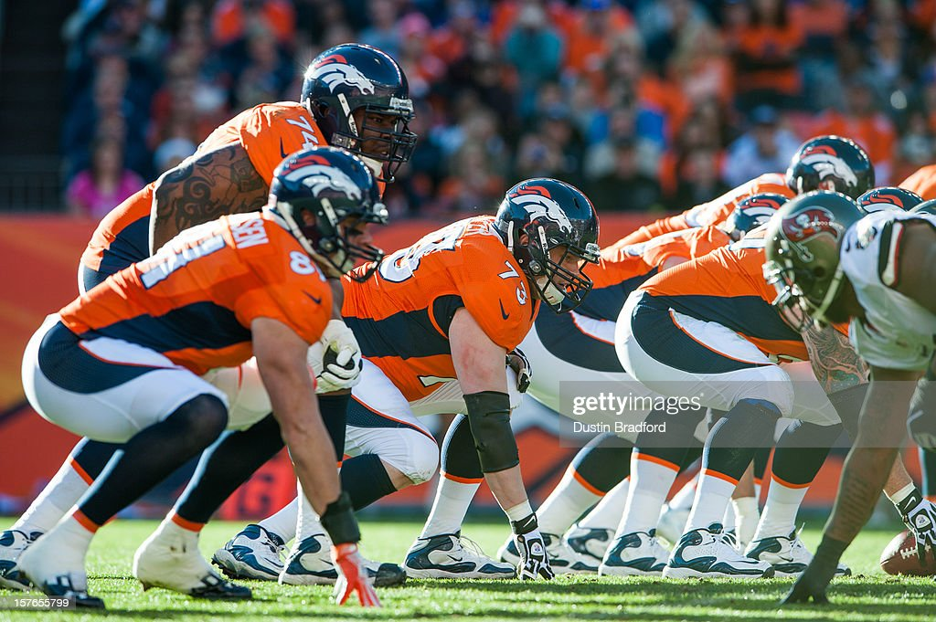 The Denver Broncos offensive line, including guard Chris Kuper #73 and tackle Orlando Franklin #74 line up against the Tampa Bay Buccaneers defense during a game at Sports Authority Field at Mile High on December 2, 2012 in Denver, Colorado.