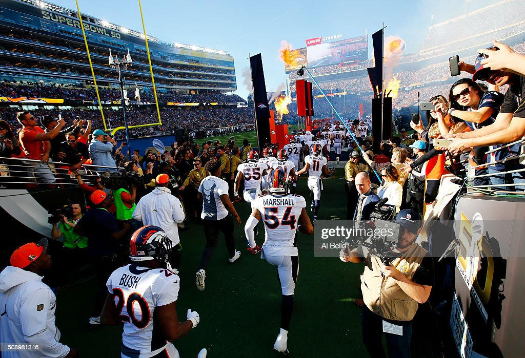 The Denver Broncos take the field during Super Bowl 50 against the Carolina Panthers at Levi's Stadium on February 7, 2016 in Santa Clara, California.