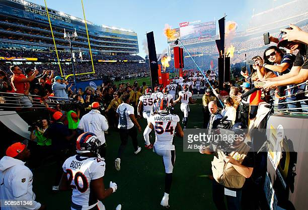 The Denver Broncos take the field during Super Bowl 50 against the Carolina Panthers at Levi's Stadium on February 7 2016 in Santa Clara California