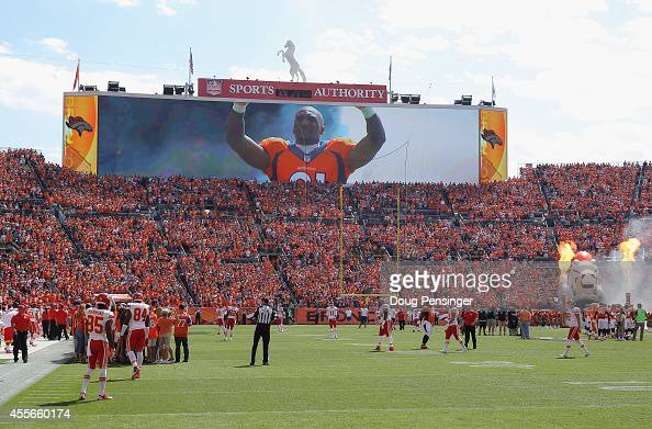 The Denver Broncos take the field to face the Kansas City Chiefs at Sports Authority Field at Mile High on September 14 2014 in Denver Colorado The...