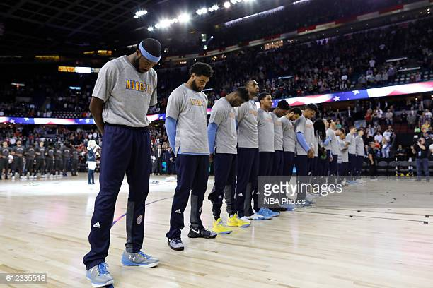 The Denver Nuggets are seen before the game against the Toronto Raptors on October 3 2016 at the Scotiabank Saddledome in Calagary Alberta Canada...