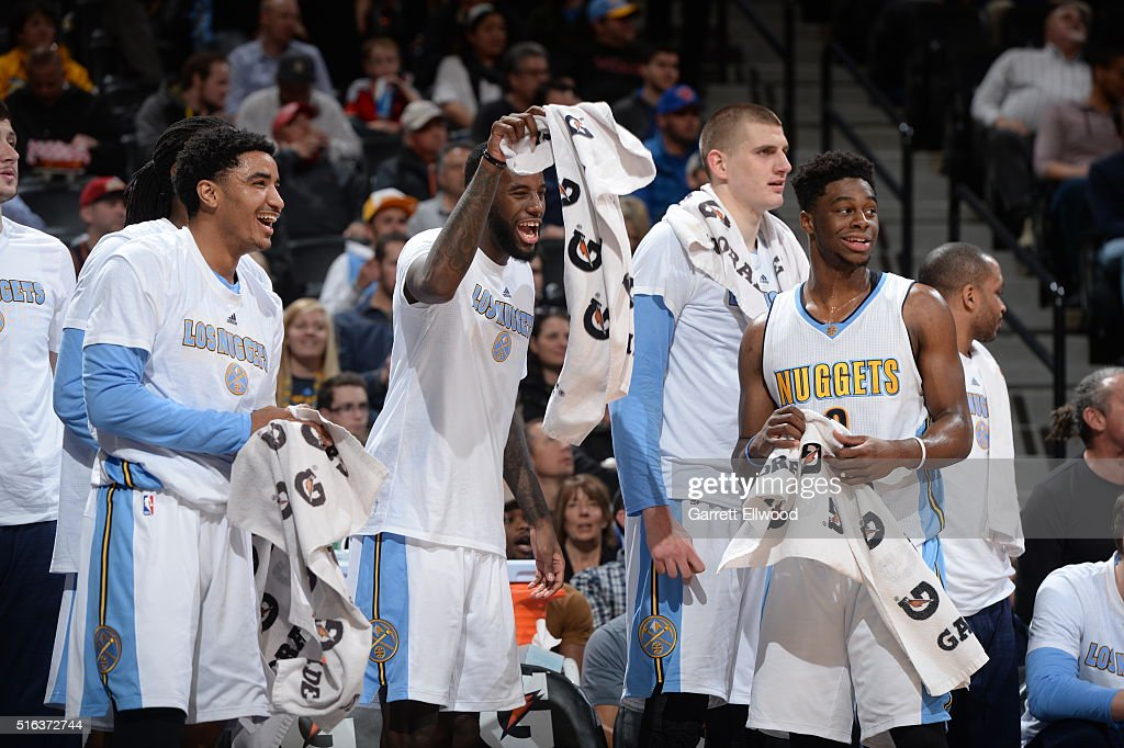 The Denver Nuggets bench celebrates during the game against the New York Knicks on March 8, 2016 at the Pepsi Center in Denver, Colorado.