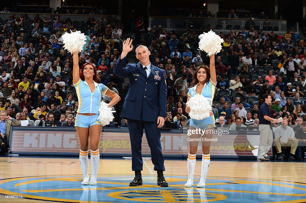 The Denver Nuggets celebrate veterns day during the game against the Atlanta Hawks on November 7, 2013 at the Pepsi Center in Denver, Colorado.