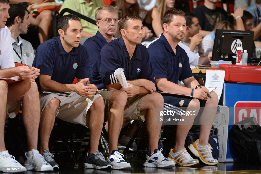 The Denver Nuggets coaching staff looks on versus the Golden State Warriors during NBA Summer League on July 14, 2012 at Cox Pavilion in Las Vegas, Nevada.