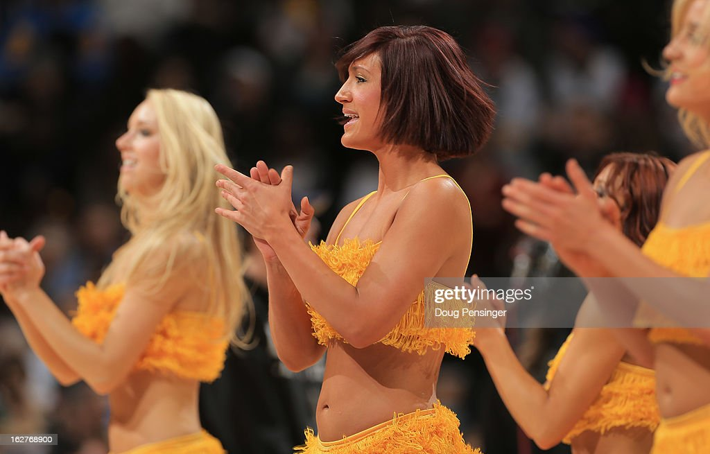 The Denver Nuggets dance team performs during a break in the action against the Los Angeles Lakers at the Pepsi Center on February 25, 2013 in Denver, Colorado. The Nuggets defeated the Lakers 119-108.